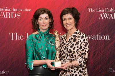 """Rita White, Winner """"Accessory Designer of the Year 2019"""" category and award sponsor Rita Langan, Bee Green pictured at the 10th celebration of The Irish Fashion Innovation Awards in The Galmont Hotel & Spa. Photo Martina Regan"""