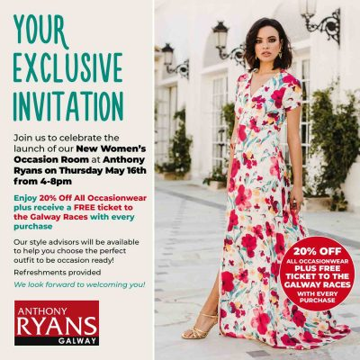 Invite to Anthony Ryans Womens Occasionwear Room launch