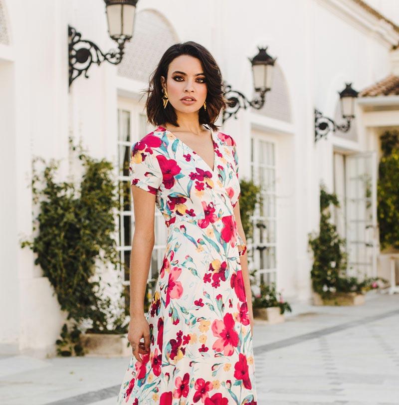 Vestido Largo Flores Cruzado