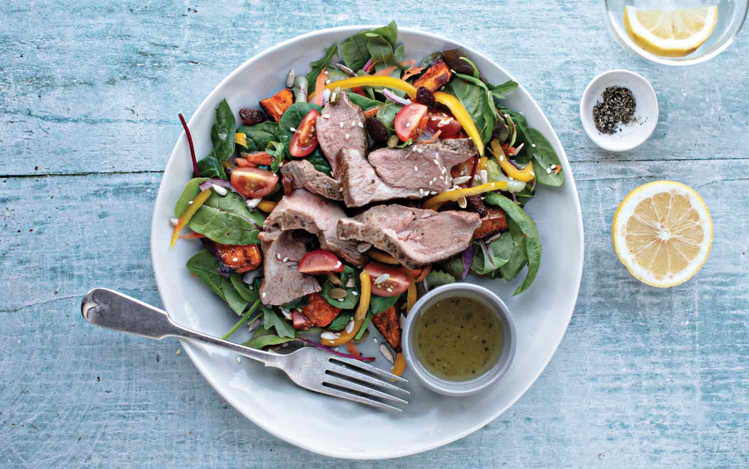 ROAST SPICED SWEET POTATO-AND-LAMB-SALAD-WITH-A-LEMON-AND-MIXED-SEED-DRESSING