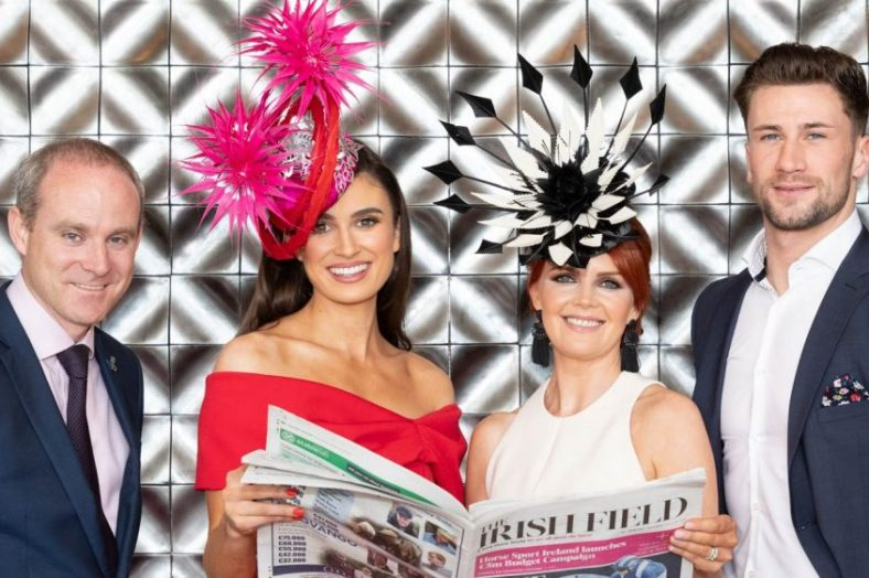 Andrew Drysdale GM, The g Hotel and Spa, Miss Ireland, Aoife O Sullivan, Tina Coyne, Milliner, Elizabeth Christina Design, creator of this year's prize and Mr Ireland, Wayne Walsh, Catwalk Models. Photo Martina Regan