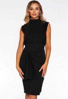 Black High Neck Sleeveless Knee Length Dress - QUIZ @ DEBENHAMS - € 25.60