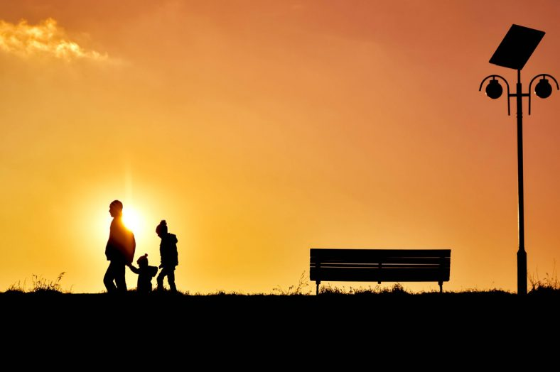 backlit-bench-children-247880