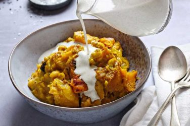 pumpkin curry with hemp garlic cream