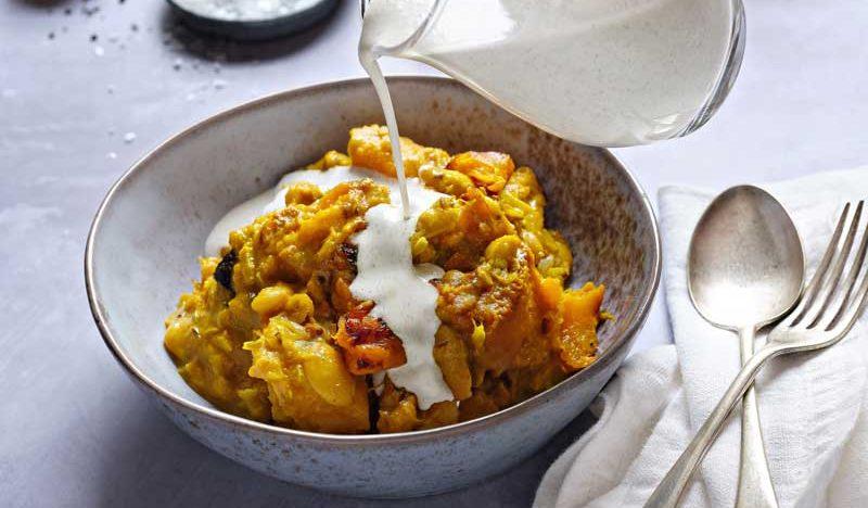 pumpkin curry with hemp garlic cream