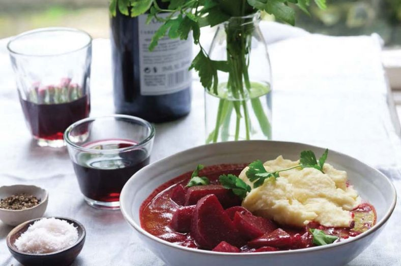 Beet Bourguignon with Horseradish Yogurt