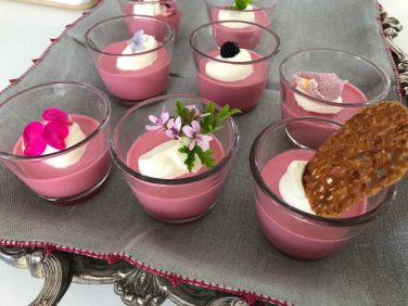 Blackberry and geranium posset jars