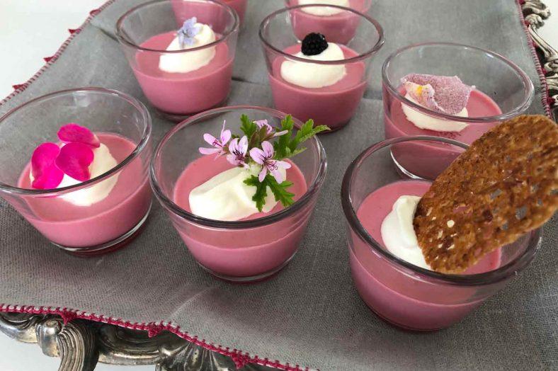 Blackberry and geranium posset jars