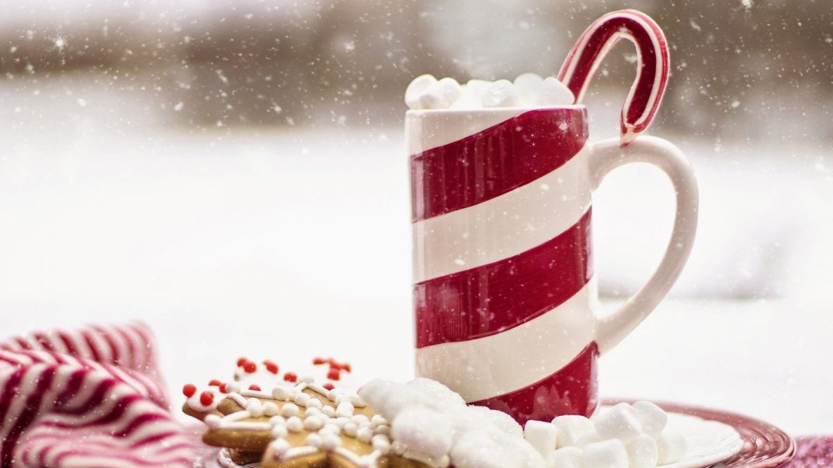 Christmas cookies and hot chocolate with candy cane stick, white snow background