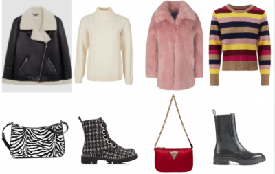 black leather woolen lined coat, zebra print purse, chequered boot, white knit jumper, red purse, black boots and colourful striped jumper