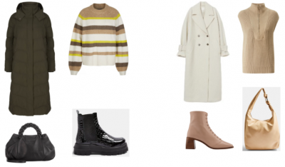 Two long trenchcoats, black and white, two bags, black and cram, striped jumper and beige top