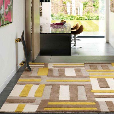 Yellow and greys matrix rug