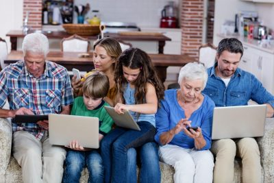 family on digital devices